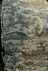 Vintage Curtain Panel Ships People Horses Colonial Design Tan Black