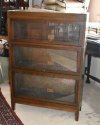 Antique Mahogany 3 Section Barrister Bookcase, Globe Wernicke