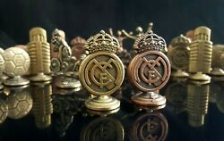 Vintage Official Set Chess Of Real Madrid Figures Brass Made With Board