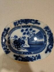 Flow Blue Platter Palm Trees Oriental S.a. And Co. 15 X 12