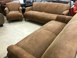 John Lewis Tan Italian Leather 3 Seater + 2 Seater And Chair