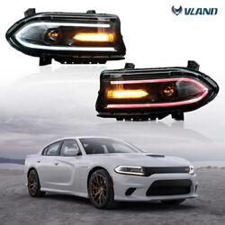 Set2 Led Drl Music Multicolour Projector Headlights For 2015-20 Dodge Charger