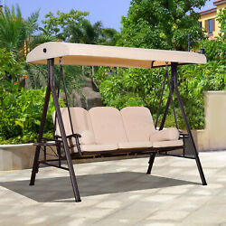 3-person Outdoor Canopy Patio Cushioned Bench Patio Glider Swing Seat Steel