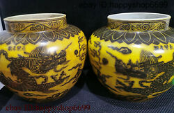 Ancient Chinese Rare Dynasty Porcelain Golden Dragon Can Type Flower Bottle Pair