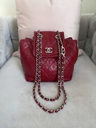 Authentic Beijing 2-in-1 Burgundy Bag Quilted Lambskin Leather With Box