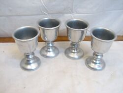 Set Wilton Armetale Pewter Wine/water Goblets 5 Chalice Queen Anne Rwp Shiny