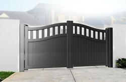 Bell Curved Top Metal Double Swing Driveway Gate With Tall Infill Aluminium
