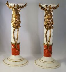 Seasonal Holiday Christmas Reindeer Ceramic Candle Holders Candle Sticks Taper