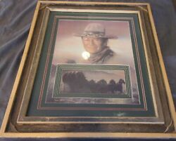 25.5 X 29.5 Inches John Wayne Handmade Frame Matted Print All Wood Winchester Cl