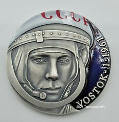 Cameroon - 2021 - Vostok-1 - First Human In Space - 3 Oz Antiqued Silver Coin