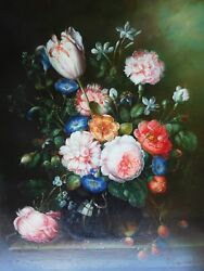 Incredible Victorian 19th Century Flowers Strawberries Oil Wood Panel Painting