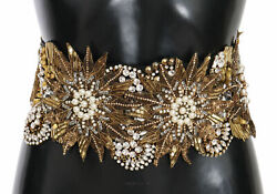 Dolce And Gabbana Belt Floral Crystal Gold Pearl Wide Waist It44/ Us10/l Rrp 5720