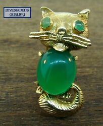 Vintage 14k Yellow Gold Green Onyx And Emerald Cat Pin.