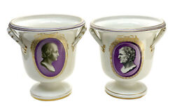 Pair Imperial Royal Vienna Austria Porcelain Wine Coolers Or Planters, 1802