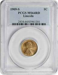 1909-s Lincoln Cent Ms64rd Pcgs