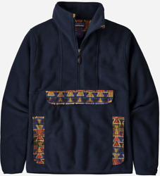 Synchilla Anorak New Navy Aztec Red Yellow Cagoule Fleece Pullover - M