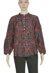 Apiece Apart Floral Printed Button Long Sleeve Casual Silk Tunic Top New S 4