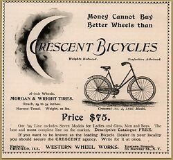 1895 Crescent Sky-high Bicycle Western Wheel Works Moon Morgan Wright Tires Ad