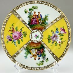 Dresden Germany Decorative Plate Floral Gilded Hand Painted 8in Vintage U313