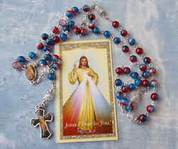 Divine Mercy Rosary With 2 Color Crystal Beads With Red Enamel Crucifixitaly