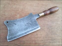 Heavy Duy Antique Custom-made Italian Chef's Or Butcher's Lg. Meat Cleaver Knife
