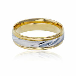 14k Two-tone Gold 6mm Dc Textured Comfort Feel Engraved Wedding Band