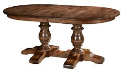 Amish Oval Double Pedestal Dining Table Solid Wood Ornate Base Alex