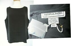 New Plus 2x Tags Nora Noh Nordstrom Blk 100 Silk Crepe Tank Top Extra Button