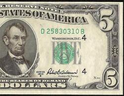 Unc 1950b 5 Dollar Bill Federal Reserve Note Currency New Old Paper Money