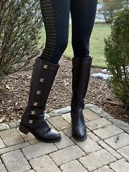 Boots Black Leather Cc Turnlock Riding Sz 38.5