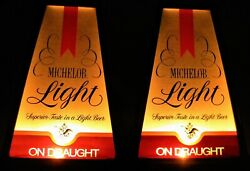 2 Vintage Michelob Light On Draught Hanging Lighted Beer Signs