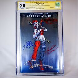 Sdcc Exclusive Harley Quinn Rebirth Foil Cgc Ss 9.8 2016 4x Signed Jim Lee