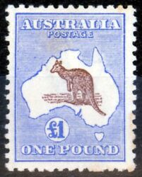 Australia 1916 Andpound1 Chocolate And Dull Blue Sg44 Fine Lightly Mtd Mint Nicely Cen...