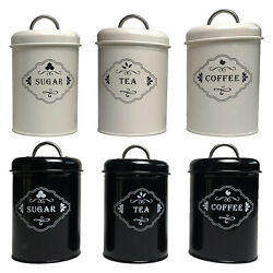 3x Jars Storage Tin Container Canisters Tea Coffee Biscuit Kitchen Decor