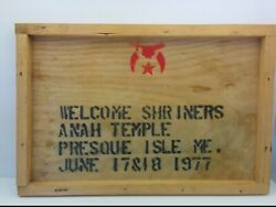 Vintage Shriners Anah Temple Wooden Sign, Presque Isle, Maine 1977, 18 X 12