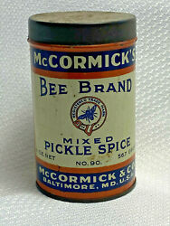 Vtg Mccormick's Bee Brand Mixed Pickle Spice 90 Mccormick And Co.tin Baltimore Md