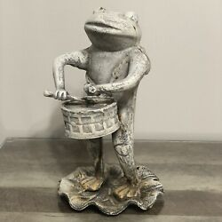 Vintage Heavy Cast Iron Frog Statue Playing A Drum Music Garden Lawn Ornament