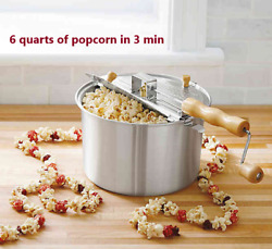 Whirley Pop Stovetop Silver Metal Popcorn Popper Wabash Valley Farms