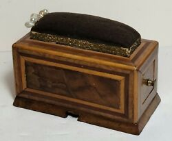 Antique Inlaid Wood Pincushion With Drawer Early 19th C.
