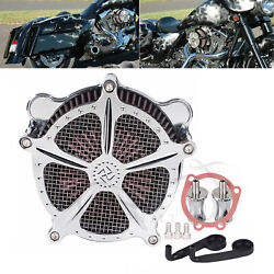 Chrome Air Cleaner Intake Red Filter For Harley Road King Fatboy Fxsts/d Flhx/t