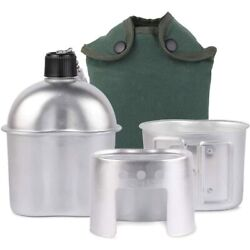 1l Army Canteen Kit Portable Camping Aluminum Cup Stove Set With Nylon Cover Bag