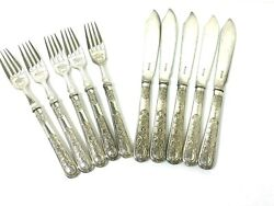 Cooper Brothers And Sons Sheffield Set Of 5 Etched Forks And Knives