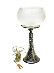 Black Starr Frost 999 Fine Silver Overlay Acid Etched Frosted Glass Lamp