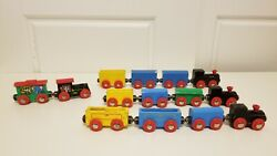 Vintage Wood Toy Train Sets With Locomotives And With Box Cars Animals Magnetic