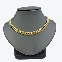 10k Yellow Gold Miami Cuban Thick Chain Necklace Strong Box Lock 8mm 22 Men's