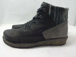 Aetrex Jolie Womens Size 10 Us Black Gray Leather Wedge Boots Shoes Sd800