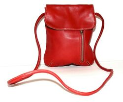 Tignanello Red Pebbled Leather Magnetic Flap Clasp Crossbody Bag