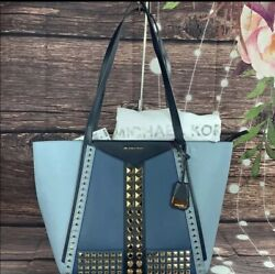 NEW Michael Kors Whitney Large Studded Tri Color Saffiano Leather Tote Women#x27;s $175.00