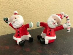 Vintage 1957 Napco Santa Candle Climbers Includes 2 Red Candles