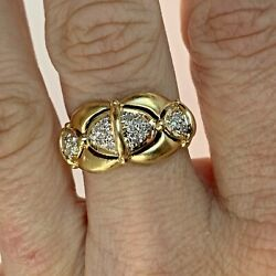 Very Unique 14k Solid Gold Womens Ladies Bubble Ring W Diamond Bow Ties Cute